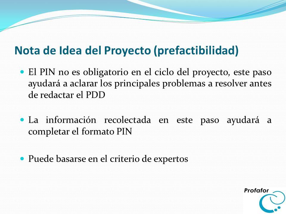Nota de Idea del Proyecto (prefactibilidad)