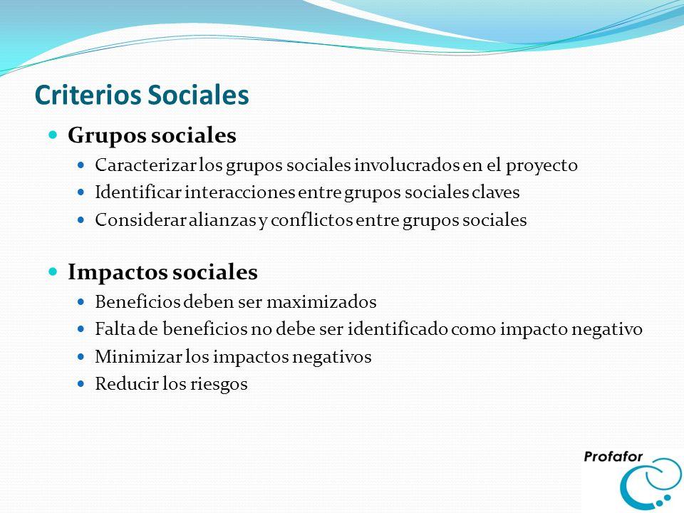 Criterios Sociales Grupos sociales Impactos sociales
