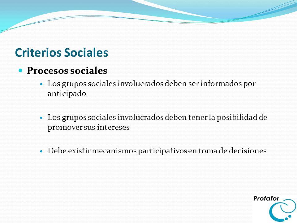Criterios Sociales Procesos sociales