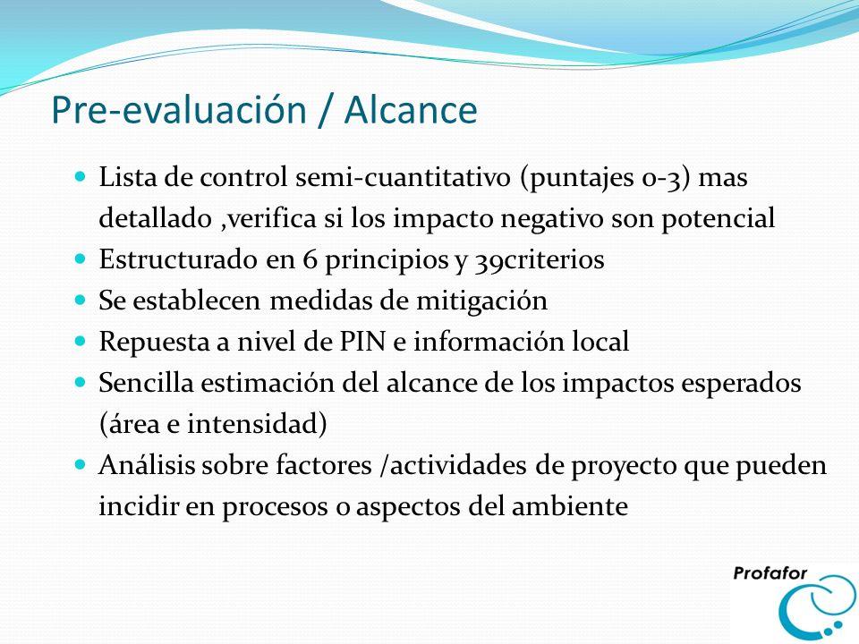 Pre-evaluación / Alcance