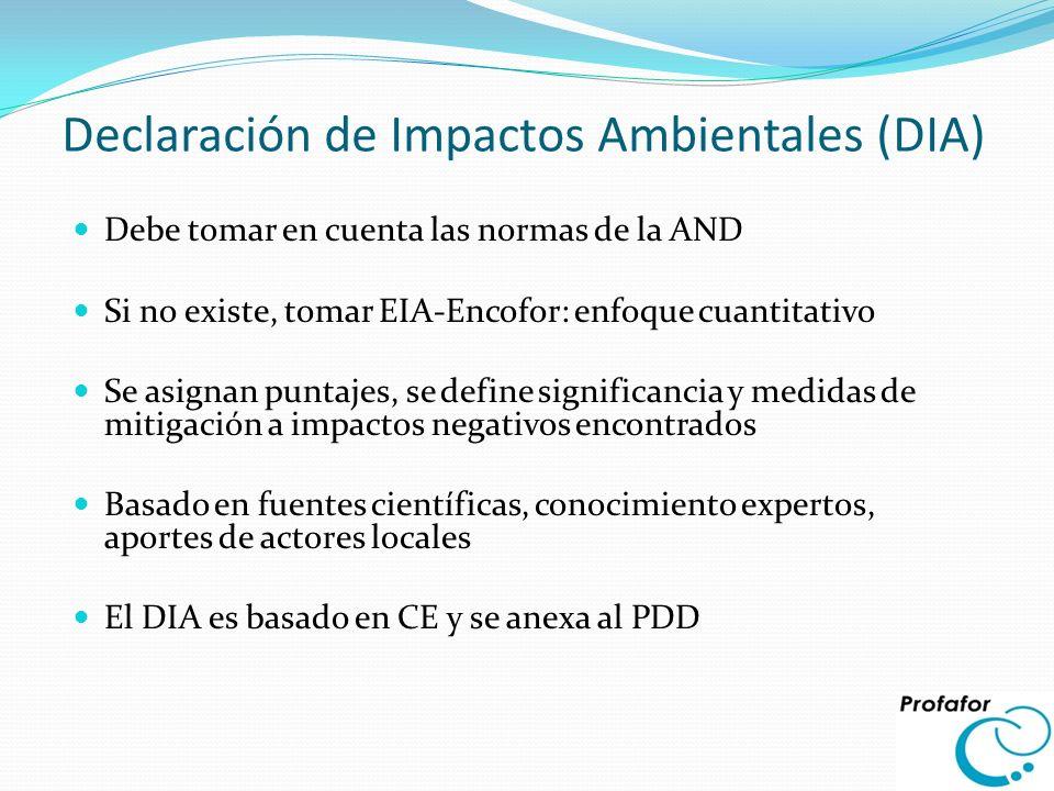 Declaración de Impactos Ambientales (DIA)