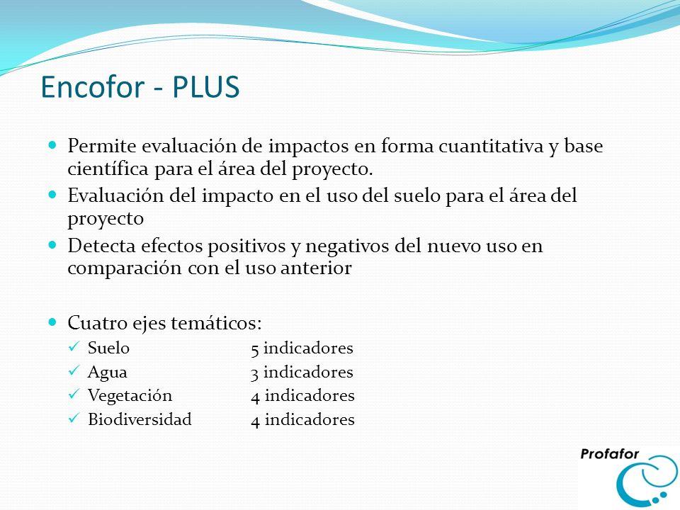 Encofor - PLUS Permite evaluación de impactos en forma cuantitativa y base científica para el área del proyecto.