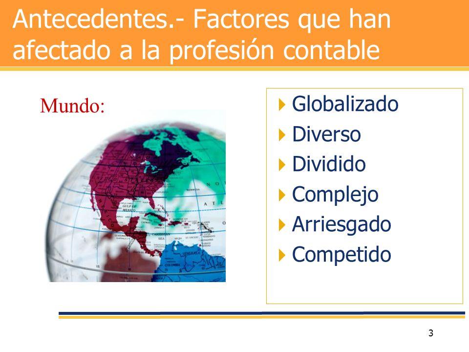 Antecedentes.- Factores que han afectado a la profesión contable