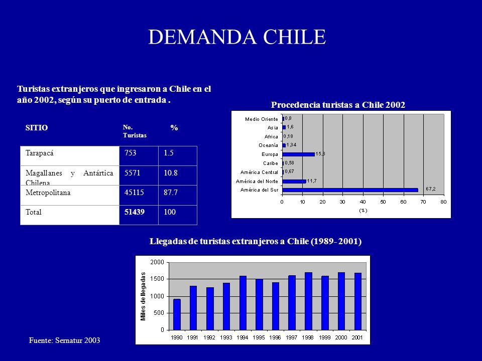 DEMANDA CHILE Turistas extranjeros que ingresaron a Chile en el año 2002, según su puerto de entrada .