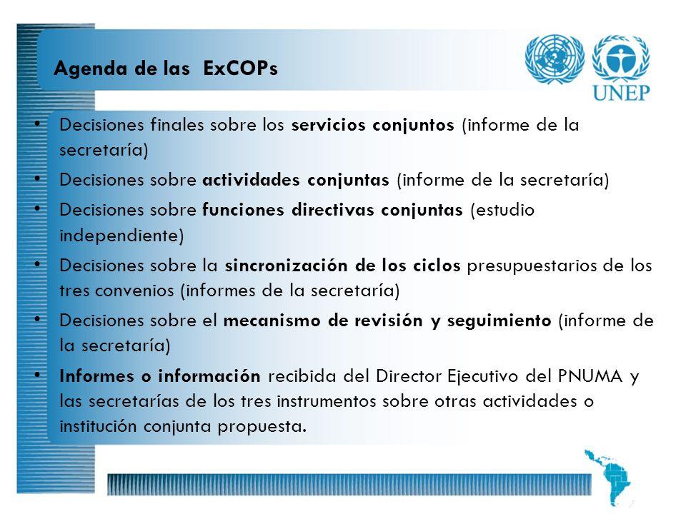 Agenda de las ExCOPs Decisiones finales sobre los servicios conjuntos (informe de la secretaría)