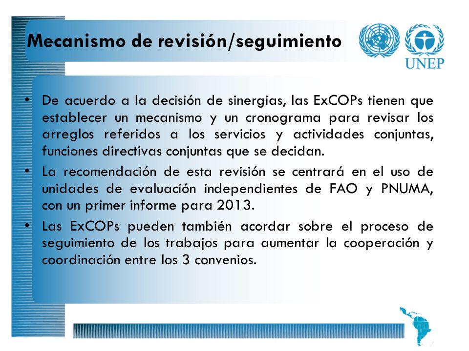 Mecanismo de revisión/seguimiento
