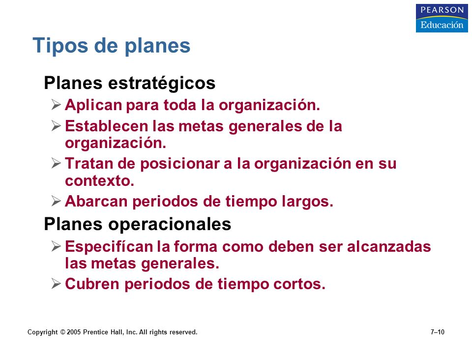 Tipos de planes Planes estratégicos Planes operacionales
