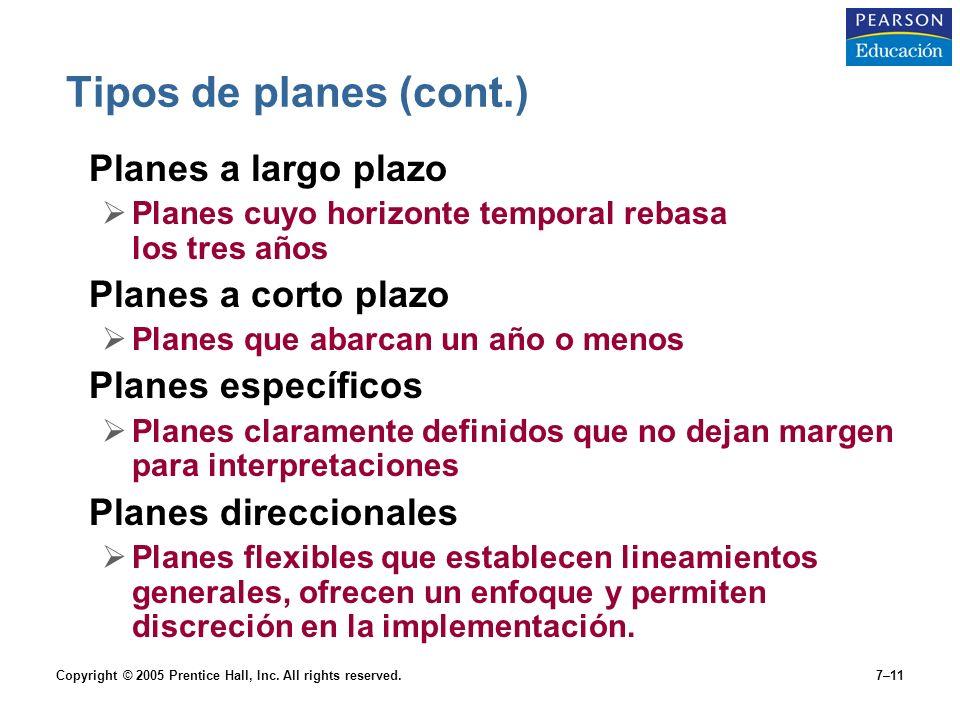 Tipos de planes (cont.) Planes a largo plazo Planes a corto plazo