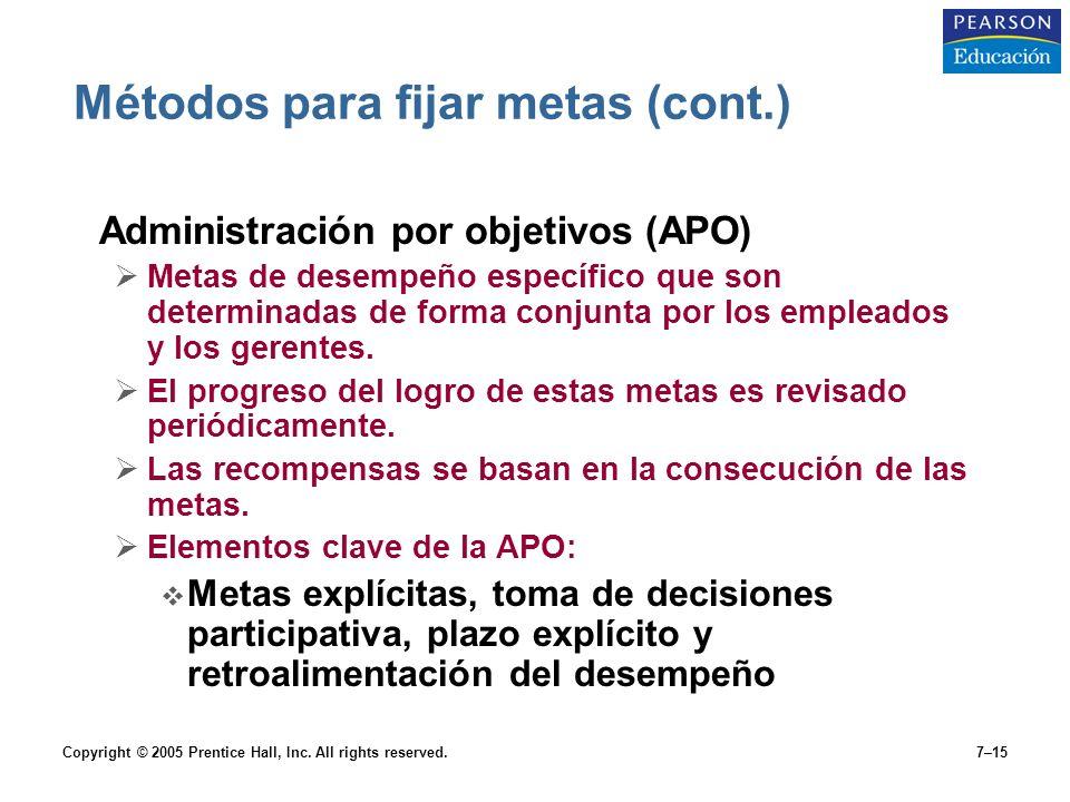 Métodos para fijar metas (cont.)