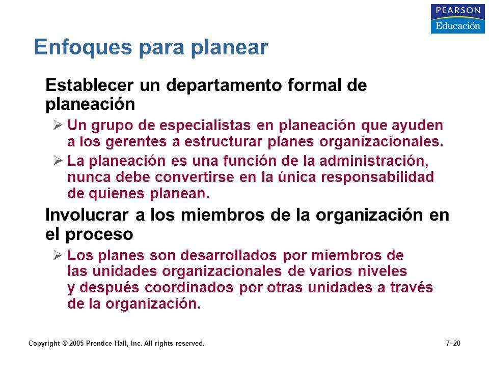 Enfoques para planear Establecer un departamento formal de planeación