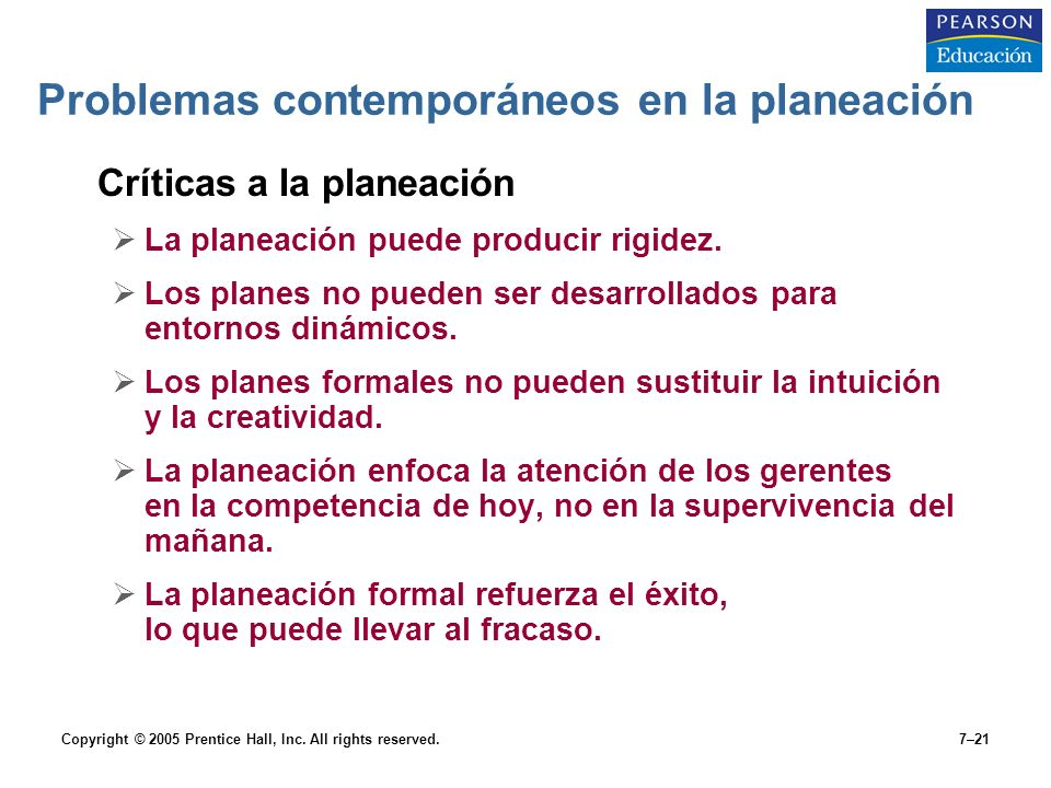 Problemas contemporáneos en la planeación