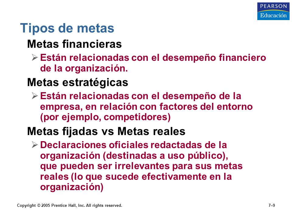 Tipos de metas Metas financieras Metas estratégicas