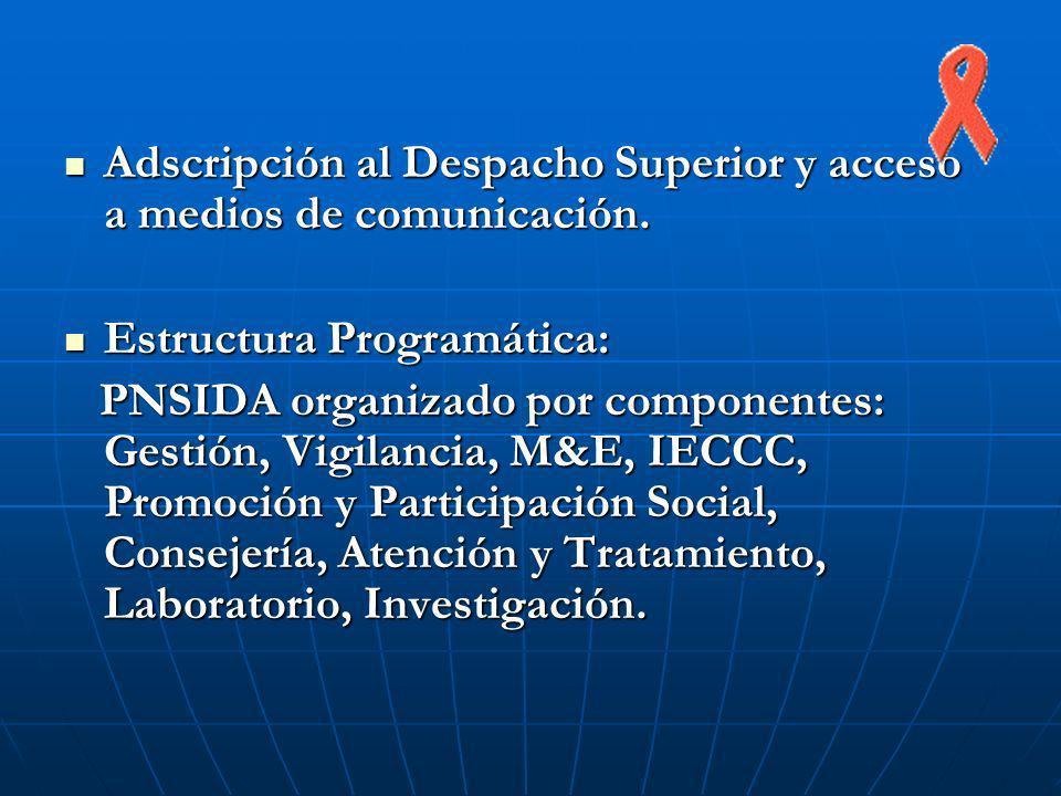 Adscripción al Despacho Superior y acceso a medios de comunicación.