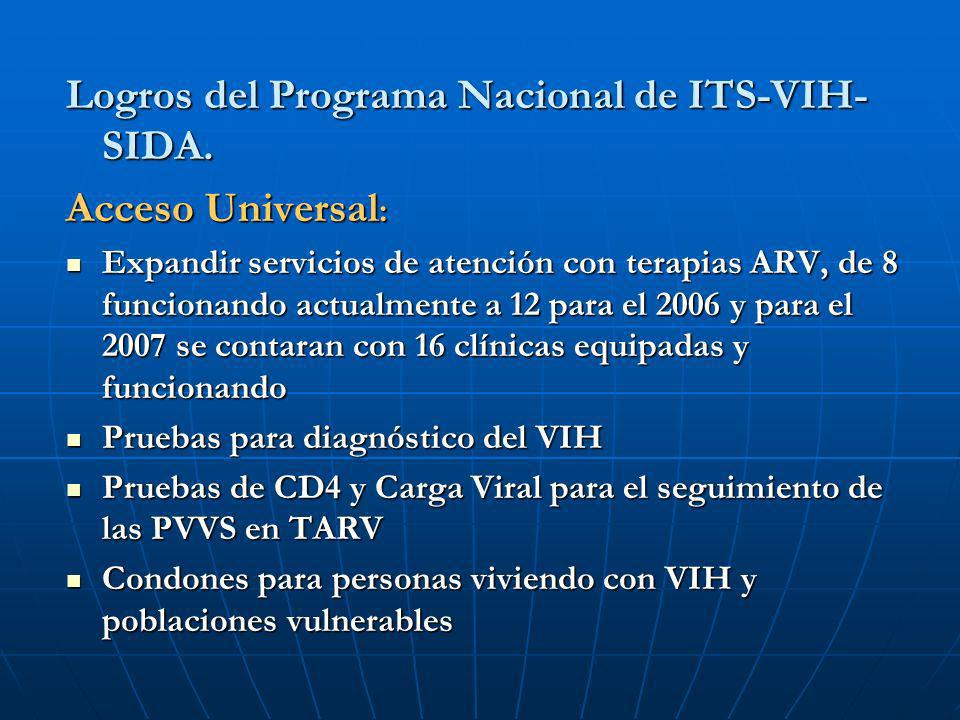 Logros del Programa Nacional de ITS-VIH-SIDA. Acceso Universal: