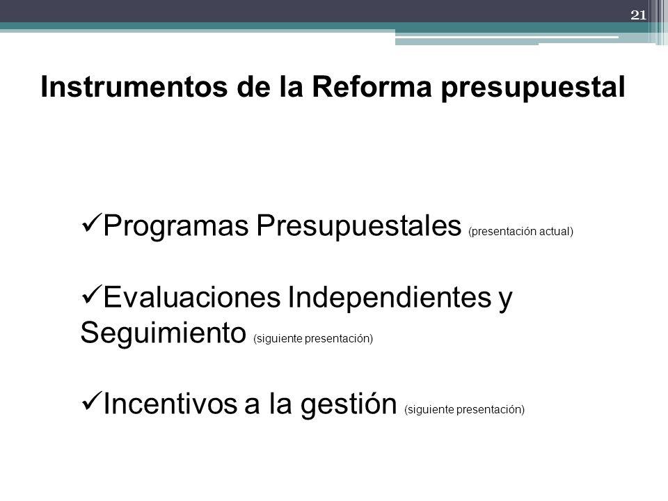 Instrumentos de la Reforma presupuestal