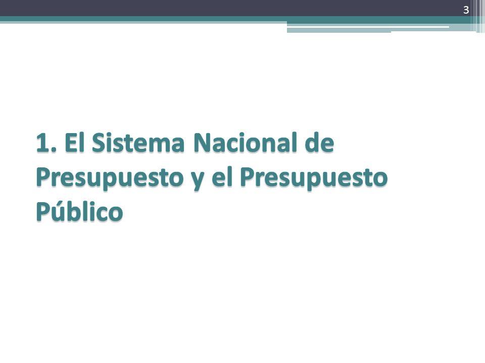 1. El Sistema Nacional de Presupuesto y el Presupuesto Público