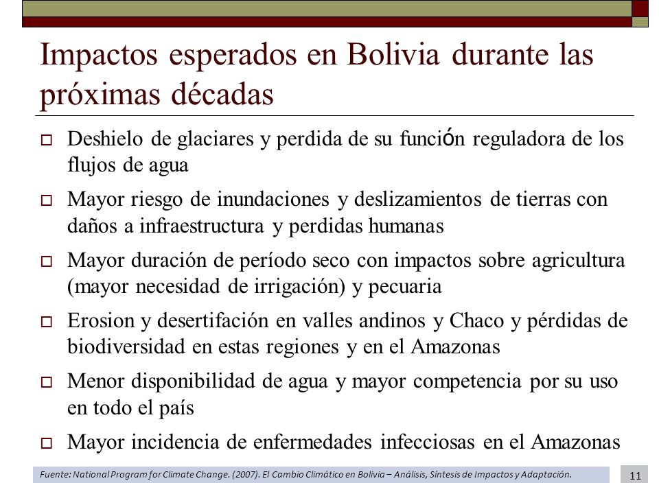 Impactos esperados en Bolivia durante las próximas décadas