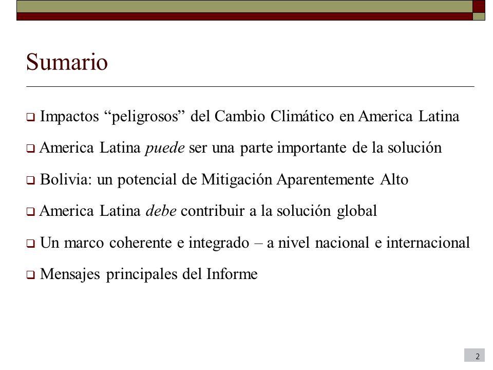 Sumario Impactos peligrosos del Cambio Climático en America Latina