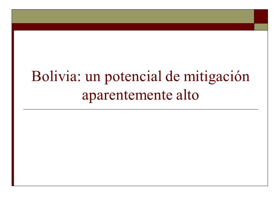Bolivia: un potencial de mitigación aparentemente alto
