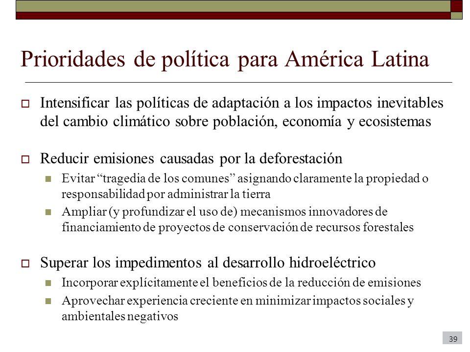 Prioridades de política para América Latina