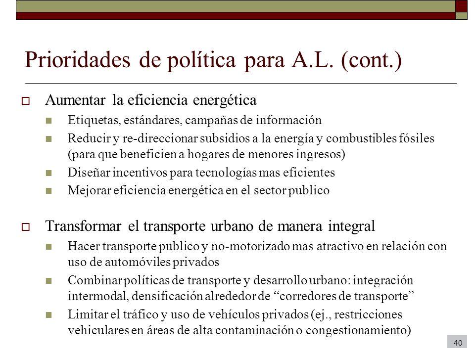 Prioridades de política para A.L. (cont.)