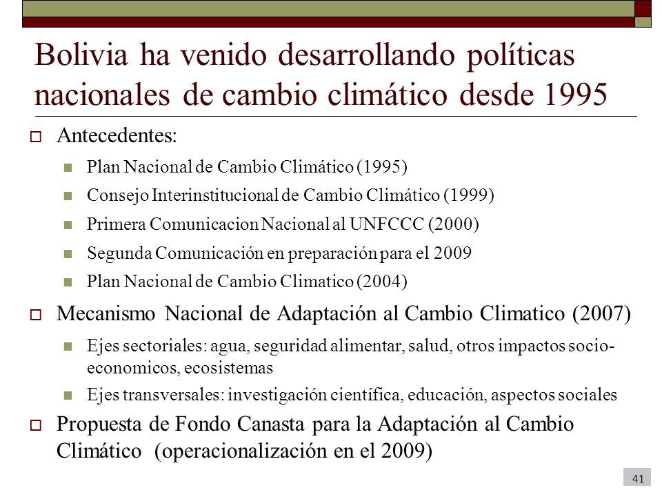 Bolivia ha venido desarrollando políticas nacionales de cambio climático desde 1995