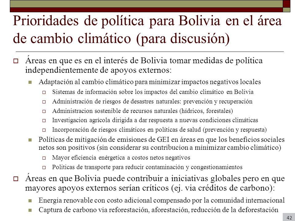 Prioridades de política para Bolivia en el área de cambio climático (para discusión)
