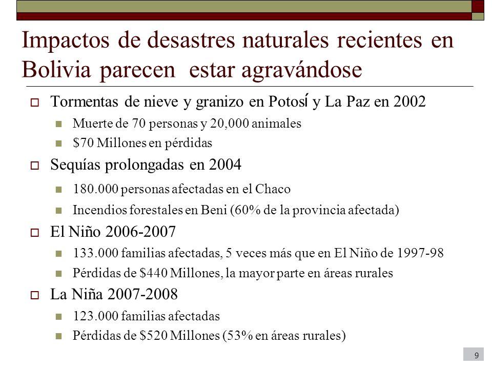 Impactos de desastres naturales recientes en Bolivia parecen estar agravándose
