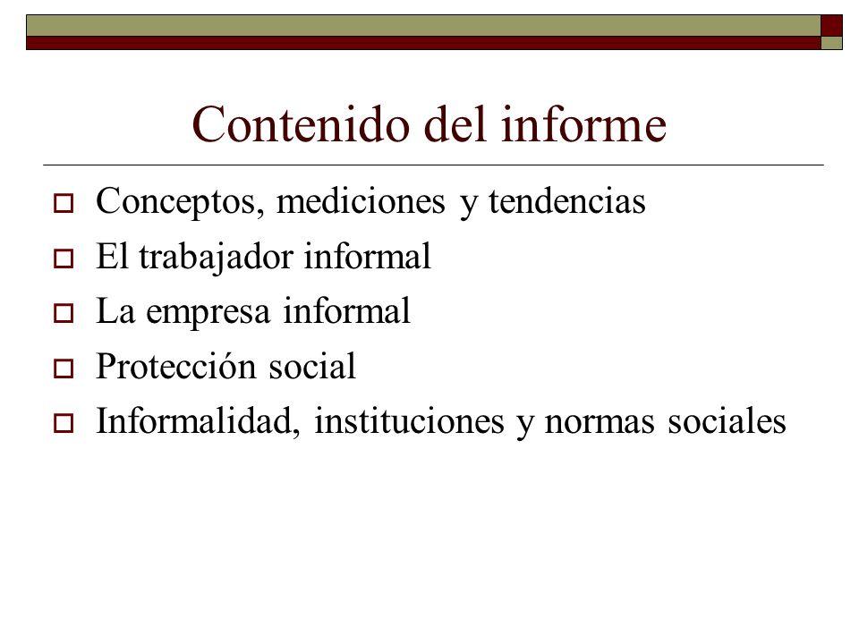 Contenido del informe Conceptos, mediciones y tendencias