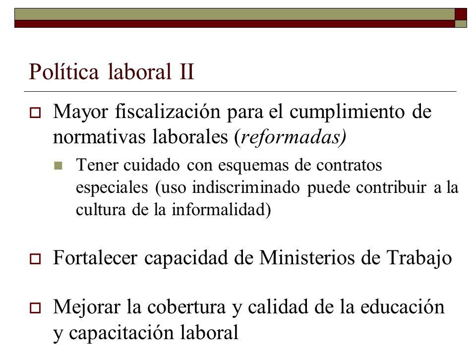 Política laboral II Mayor fiscalización para el cumplimiento de normativas laborales (reformadas)