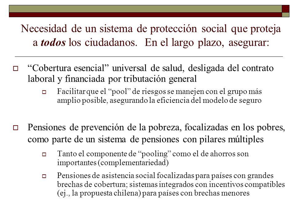 Necesidad de un sistema de protección social que proteja a todos los ciudadanos. En el largo plazo, asegurar: