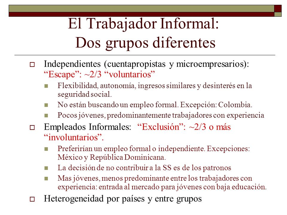 El Trabajador Informal: Dos grupos diferentes