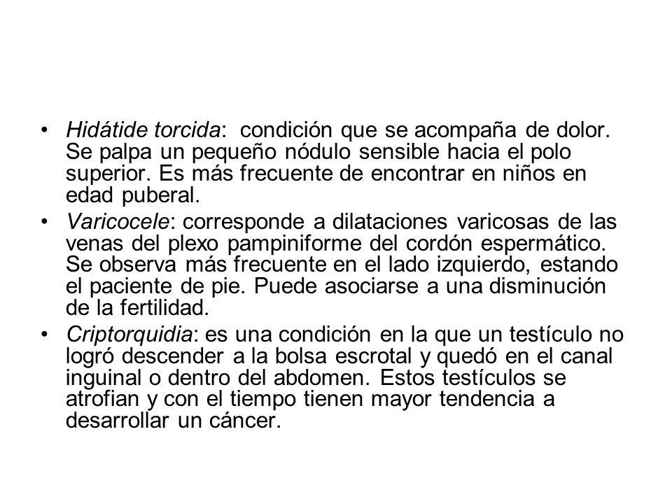 Hidátide torcida: condición que se acompaña de dolor