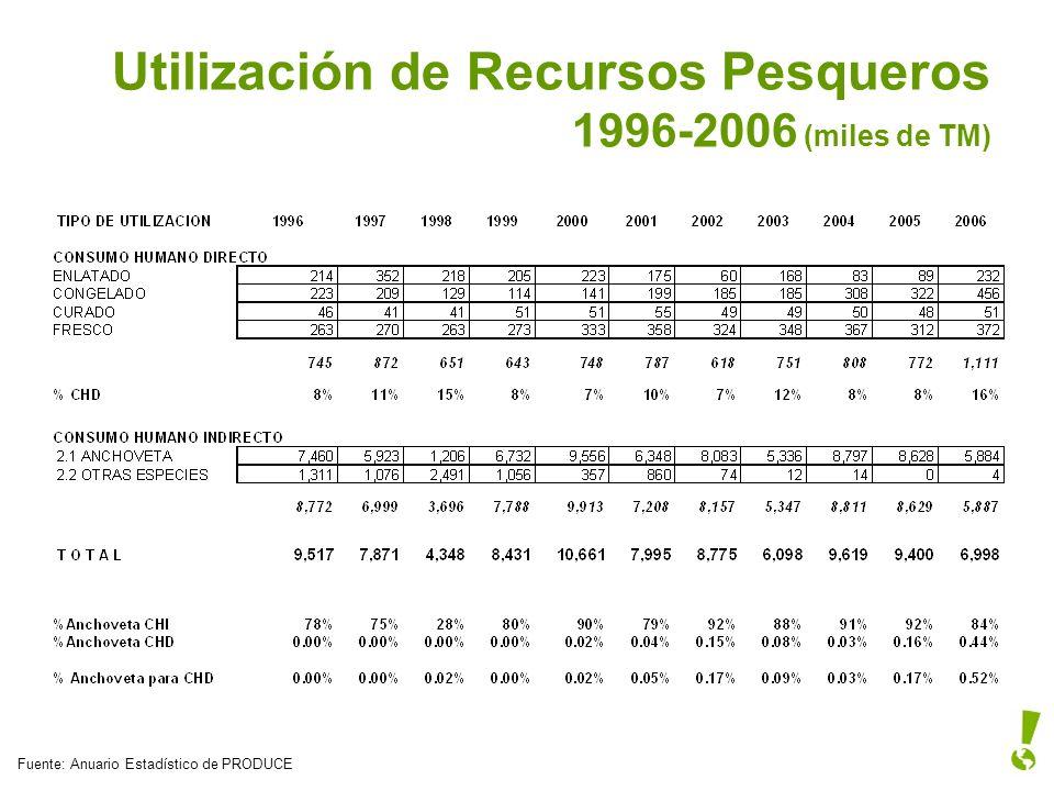 Utilización de Recursos Pesqueros 1996-2006 (miles de TM)
