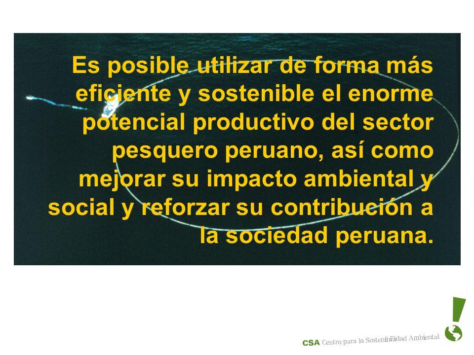 Es posible utilizar de forma más eficiente y sostenible el enorme potencial productivo del sector pesquero peruano, así como mejorar su impacto ambiental y social y reforzar su contribución a la sociedad peruana.