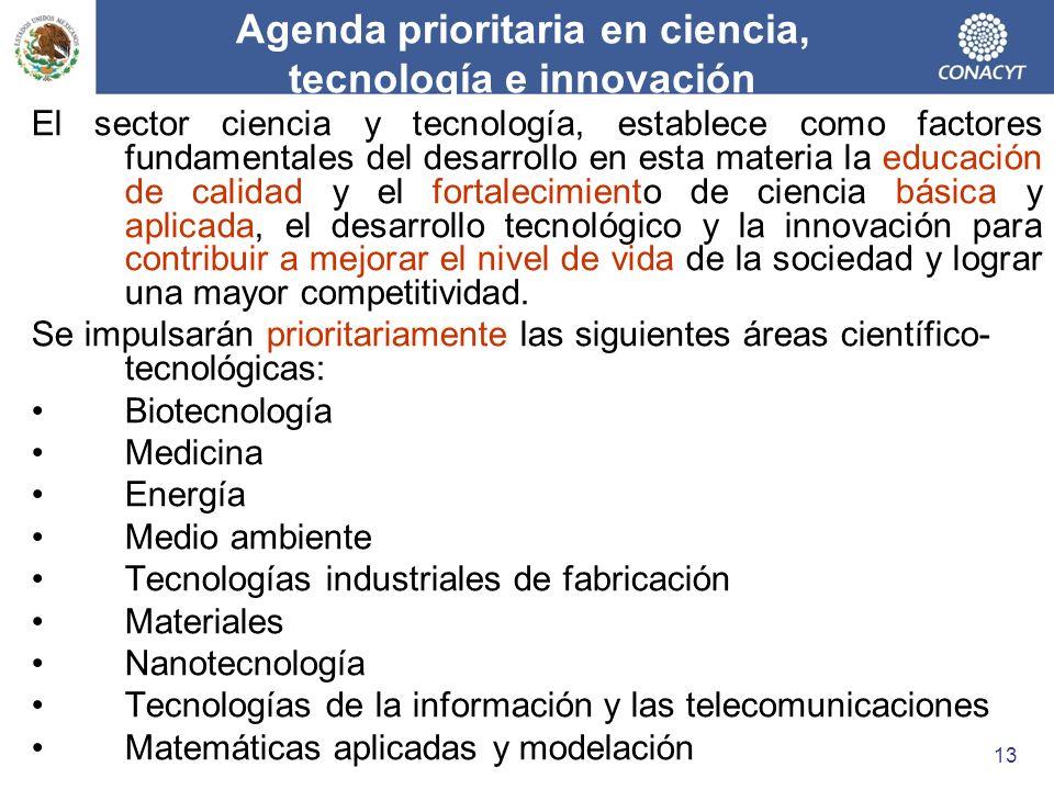 Agenda prioritaria en ciencia, tecnología e innovación