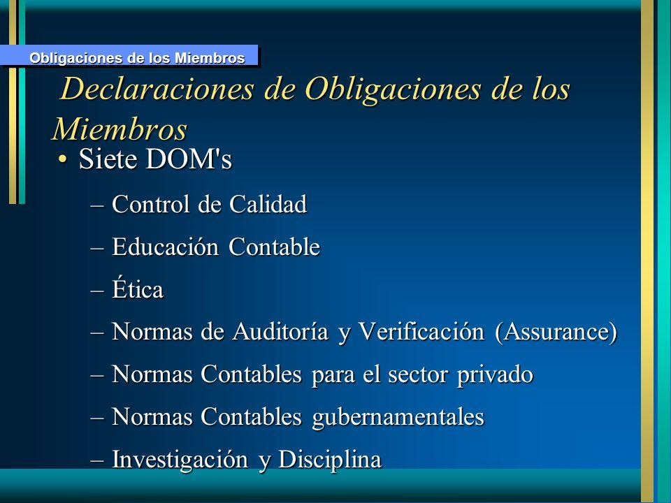 Declaraciones de Obligaciones de los Miembros
