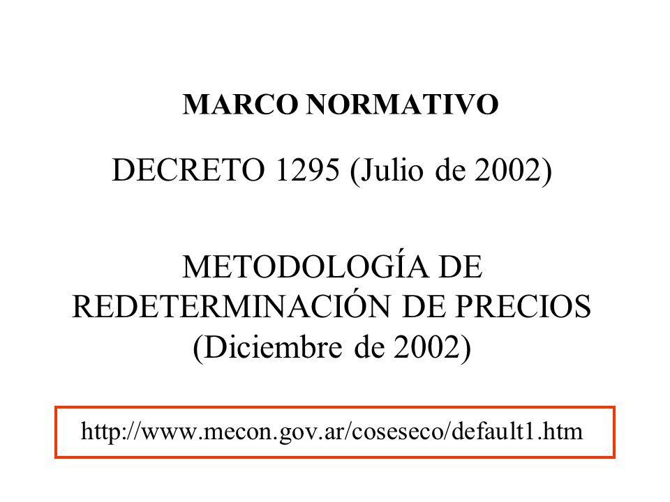 METODOLOGÍA DE REDETERMINACIÓN DE PRECIOS (Diciembre de 2002)