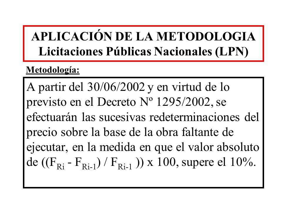 APLICACIÓN DE LA METODOLOGIA Licitaciones Públicas Nacionales (LPN)