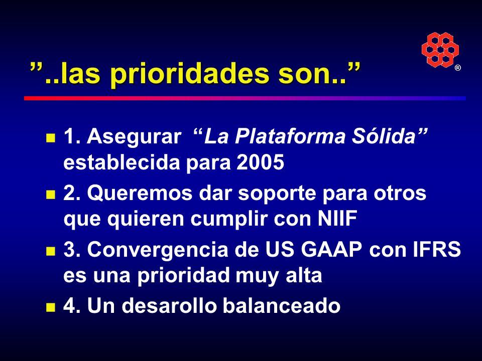 ..las prioridades son.. 1. Asegurar La Plataforma Sólida establecida para 2005. 2. Queremos dar soporte para otros que quieren cumplir con NIIF.