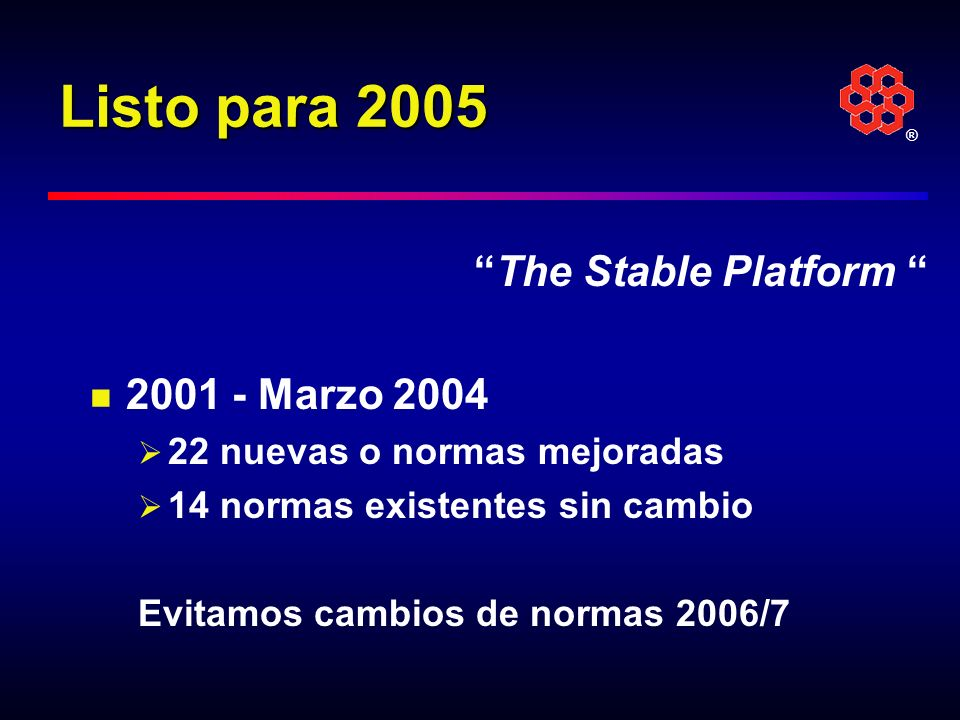 Listo para 2005 The Stable Platform 2001 - Marzo 2004