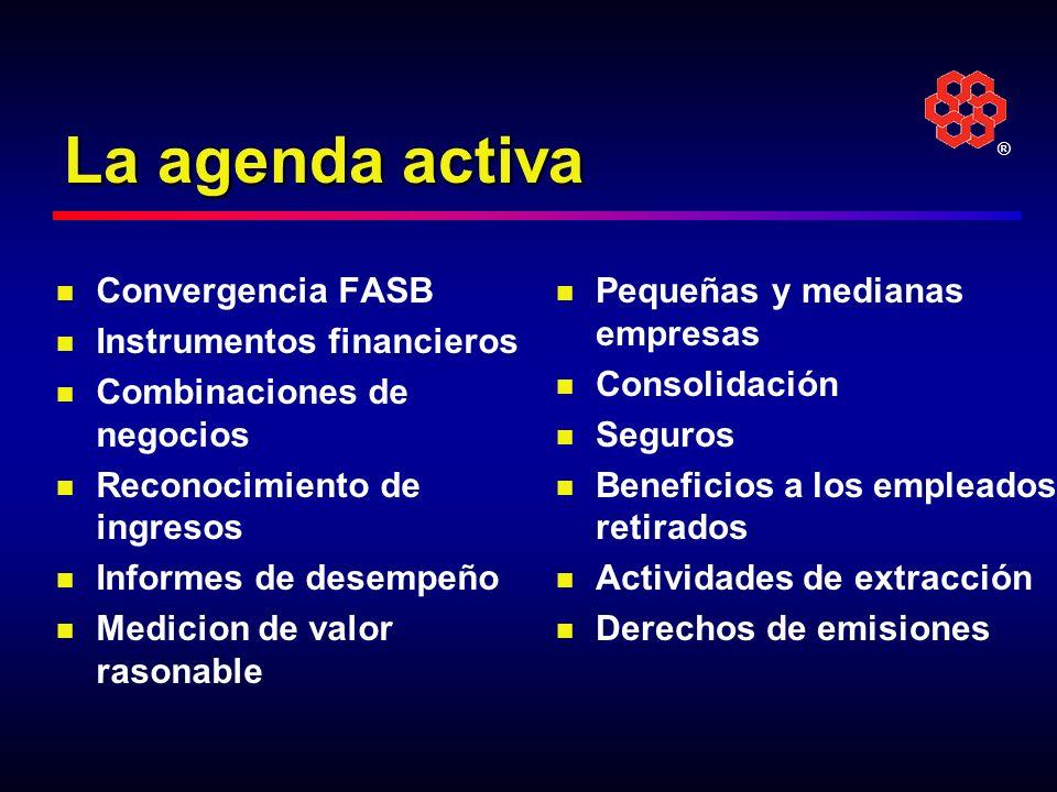 La agenda activa Convergencia FASB Instrumentos financieros