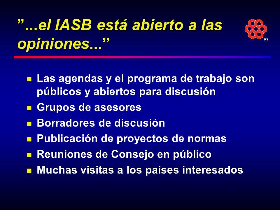 ...el IASB está abierto a las opiniones...