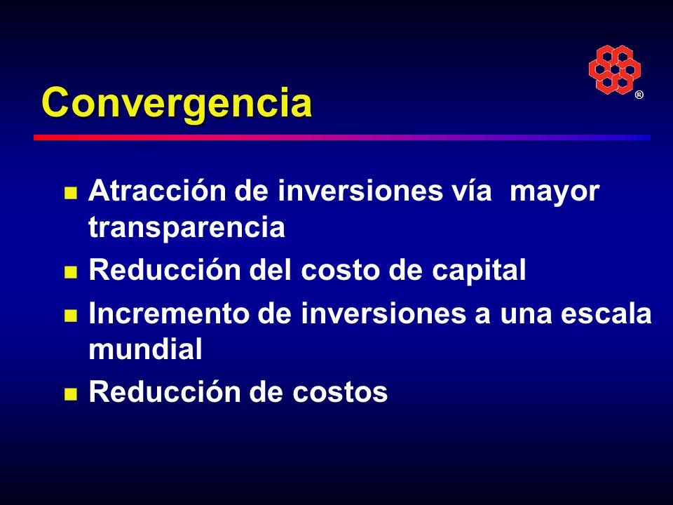 Convergencia Atracción de inversiones vía mayor transparencia