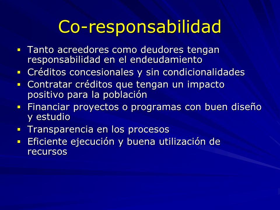 Co-responsabilidad Tanto acreedores como deudores tengan responsabilidad en el endeudamiento. Créditos concesionales y sin condicionalidades.