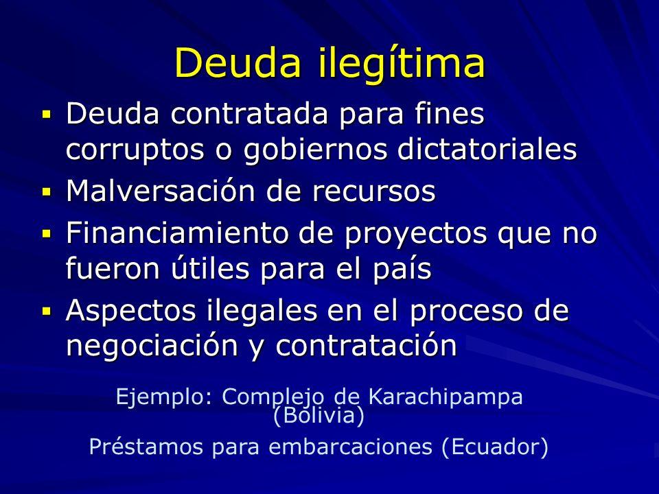 Deuda ilegítimaDeuda contratada para fines corruptos o gobiernos dictatoriales. Malversación de recursos.