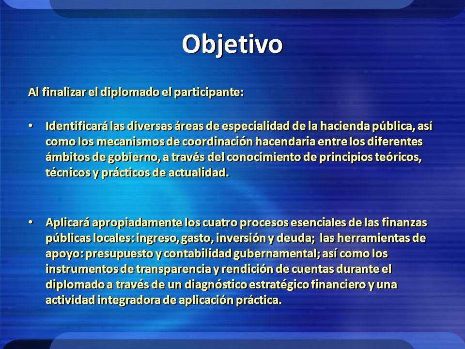 Objetivo Al finalizar el diplomado el participante: