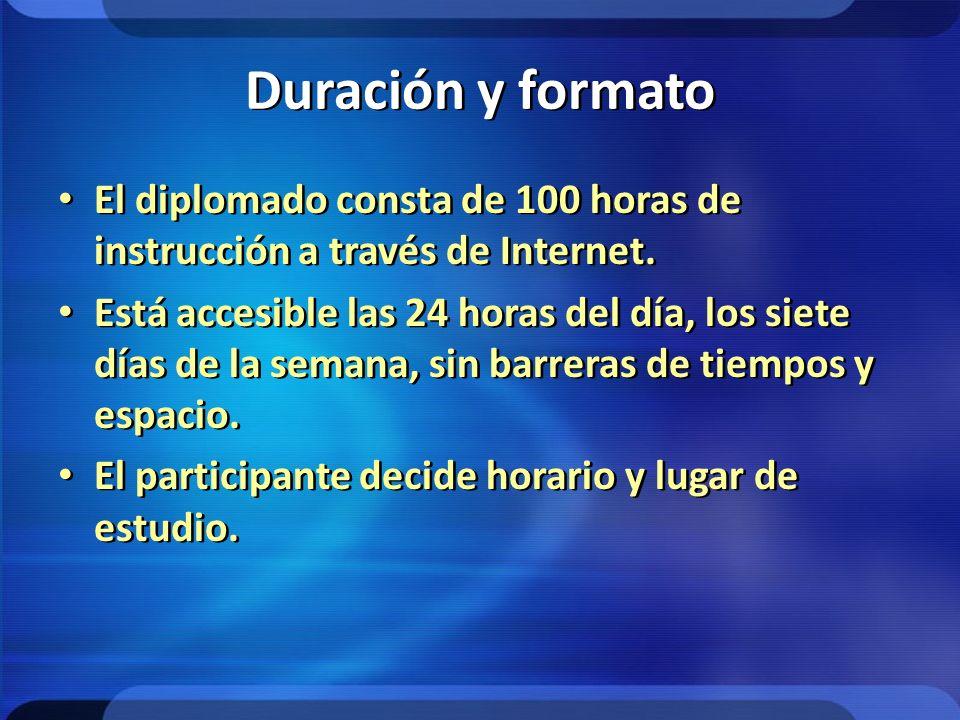 Duración y formato El diplomado consta de 100 horas de instrucción a través de Internet.