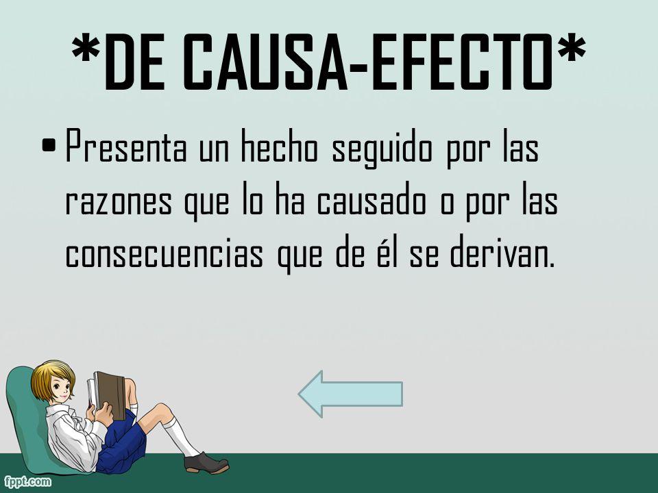 *DE CAUSA-EFECTO* Presenta un hecho seguido por las razones que lo ha causado o por las consecuencias que de él se derivan.