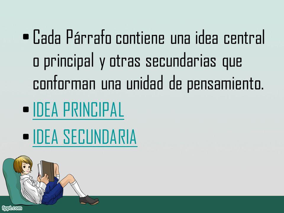 Cada Párrafo contiene una idea central o principal y otras secundarias que conforman una unidad de pensamiento.